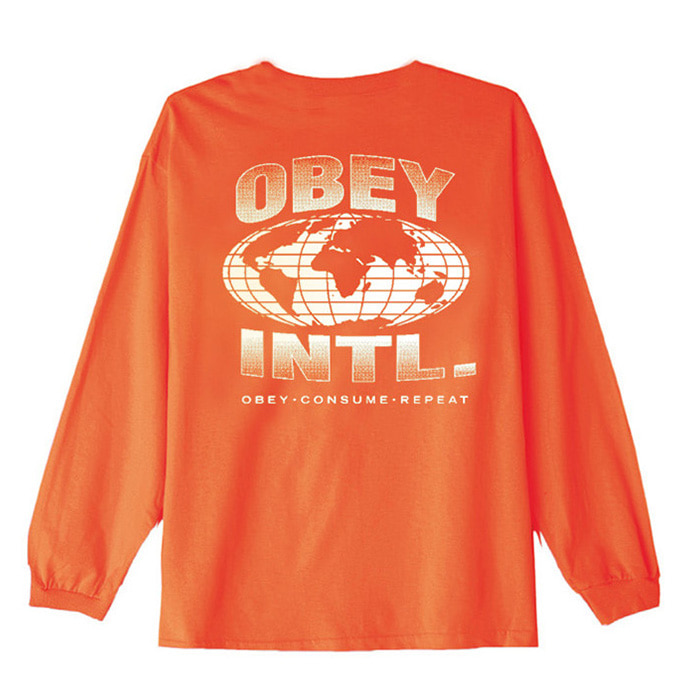오베이 롱슬리브 OBEY CONSUME REPEAT INTL. L/S TEE/SAFTEY ORANGE