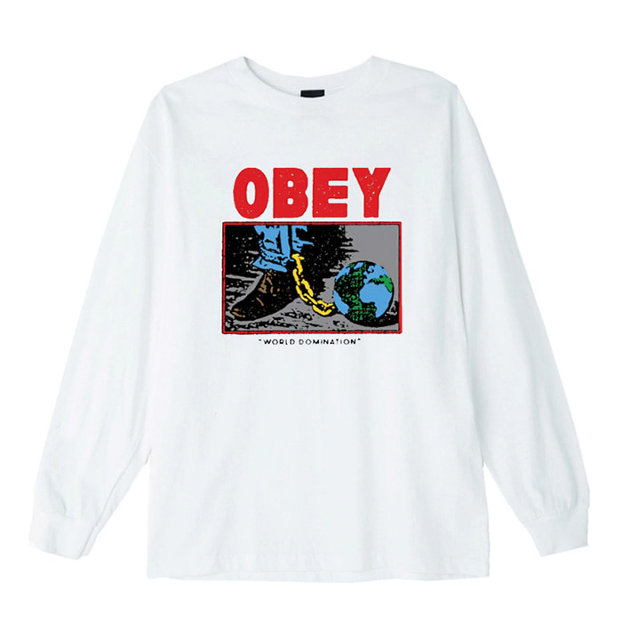 오베이 롱슬리브 OBEY WORLD DOMINATION L/S //WHITE