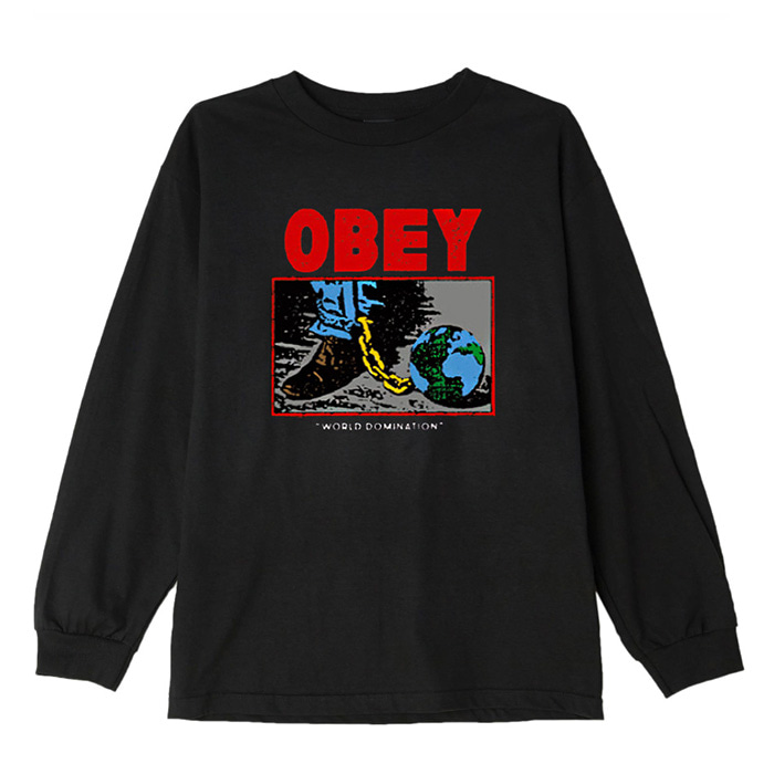 오베이 롱슬리브 OBEY WORLD DOMINATION L/S //OFF BLACK