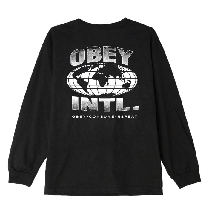 오베이 롱슬리브 OBEY CONSUME REPEAT INTL. L/S TEE/BLACK