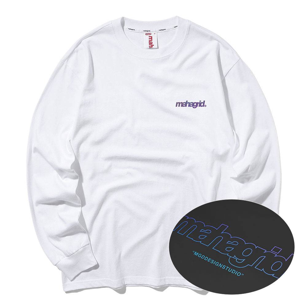 마하그리드 롱슬리브 RAINBOW REFLECTIVE THIRD LOGO LS TEE [WHITE]