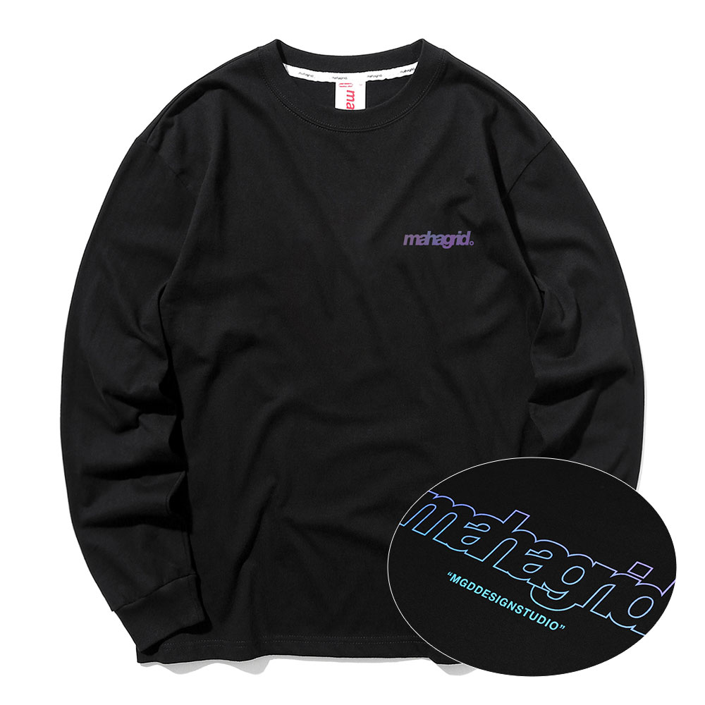 마하그리드 롱슬리브 RAINBOW REFLECTIVE THIRD LOGO LS TEE [BLACK]