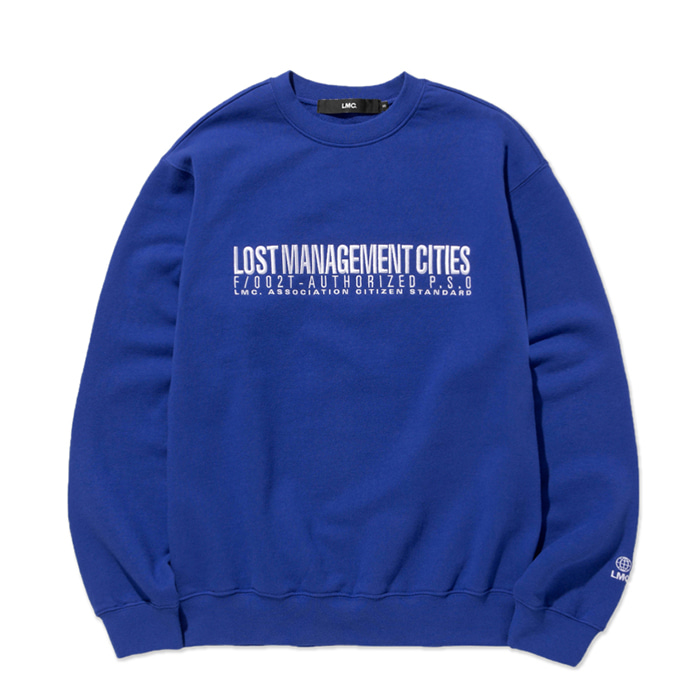 엘엠씨 맨투맨 LMC AUTHORIZED LOGO SWEATSHIRT royal blue