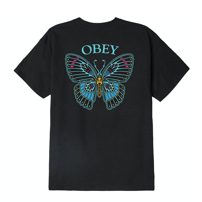 오베이 티셔츠 OBEY BUTTERFLY  black