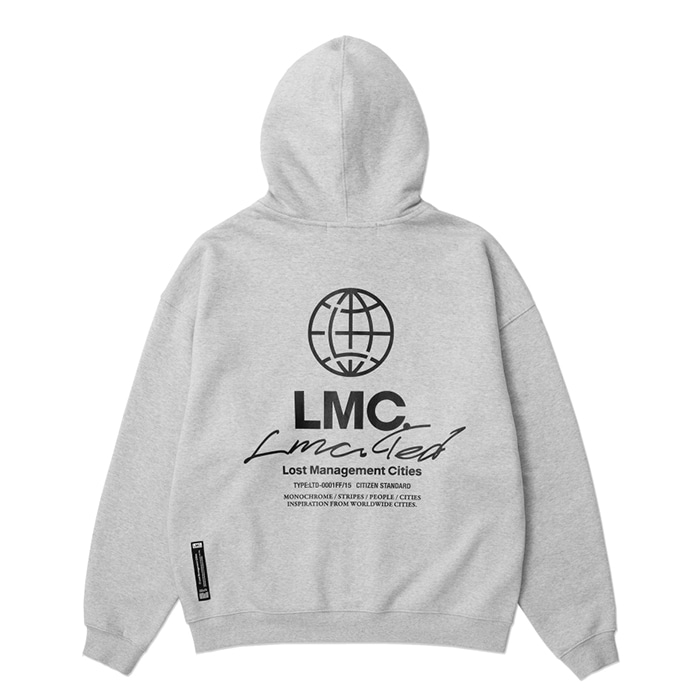 엘엠씨 후드집업 LMC SIGNATURE GLOBE ZIP-UP HOODIE heather gray