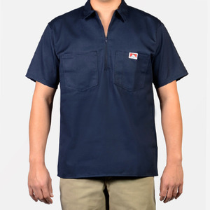 벤 데이비스 short sleeve solid half zipper  // navy