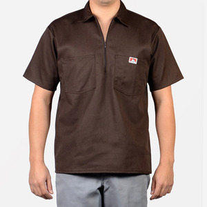 벤 데이비스 short sleeve solid  half zipper  // brown