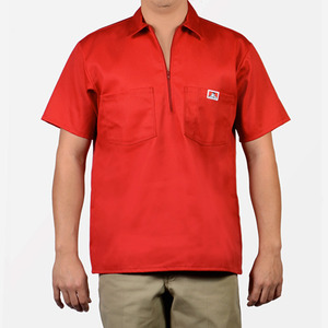 벤 데이비스 short sleeve solid half zipper  // red
