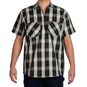 벤 데이비스 체크 short sleeve plaid half zipper  // black/cream
