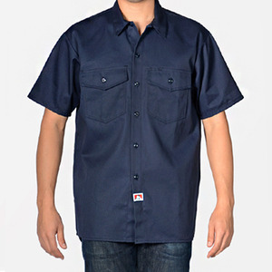 벤 데이비스 SHORT SLEEVE SOLID BUTTON-UP // NAVY